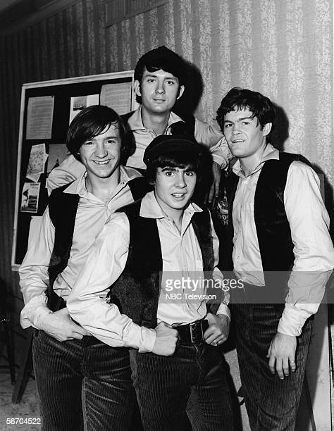 Promotional portrait of the popular music and television group the Monkees dressed in matching shirts and vests 1967 From left Peter Tork Michael...
