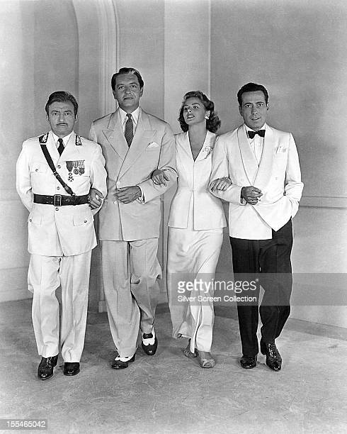 A promotional portrait of the stars of 'Casablanca' directed by Michael Curtiz 1942 Left to right Claude Rains Paul Henreid Ingrid Bergman and...