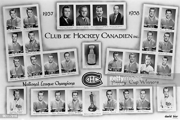 Promotional portraits of the 1957-1958 Stanley-Cup winning Montreal Canadiens organization, from management to players, along with the Prince of...