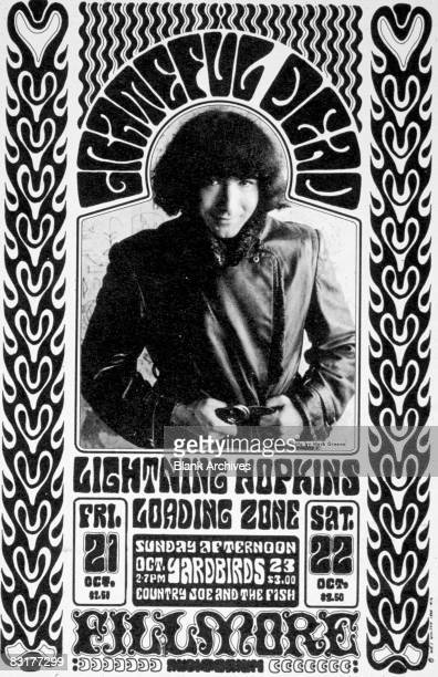 A promotional postcard for concerts featuring Jerry Garcia of The Grateful Dead October 1966 Also on the bill are Lightning Hopkins Loading Zone The...