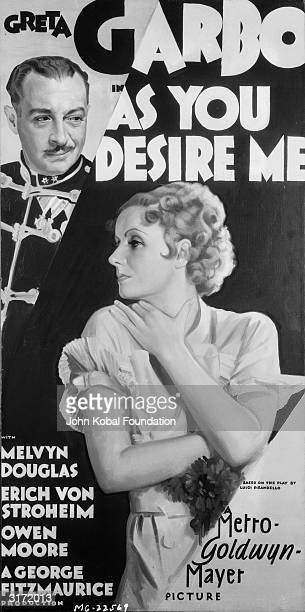 Promotional poster for George Fitzmaurice's film 'As You Desire Me', based on a play by Luigi Pirandello. Greta Garbo plays Zara who is rescued from...
