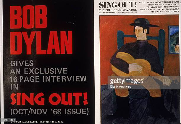 Promotional poster for 'Sing Out' folk music magazine promoting the October/November issue's interview with Bob Dylan 1968 The magazine's cover...