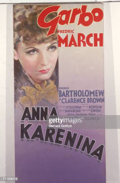 Promotional poster for the feature film 'Anna Karenina' directed by Clarence Brown and adapted by the novel written by Leo Tolstoy which features a...