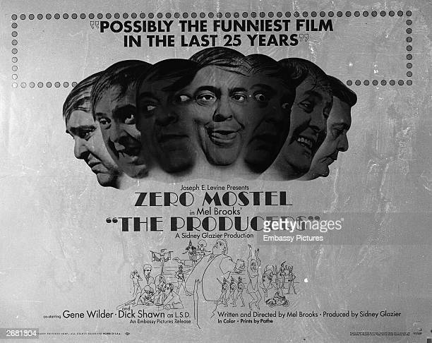 Promotional poster for the film comedy 'The Producers' directed by Mel Brooks 1968