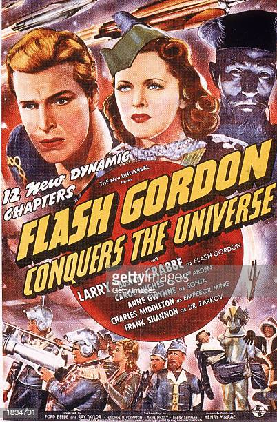 Promotional poster for the film 'Flash Gordon Conquers the Universe' starring Buster Crabbe and directed by Ford Beebe 1940