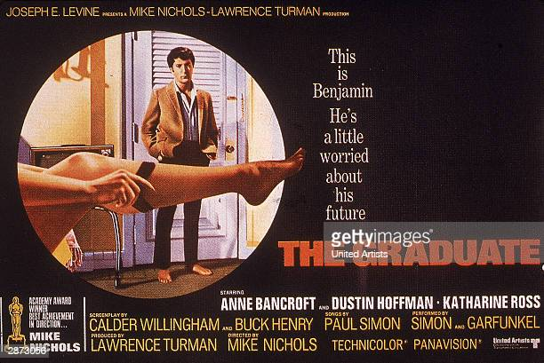 Promotional poster for the film 'The Graduate' directed by Mike Nichols and starring Dustin Hoffman and Anne Bancroft 1967