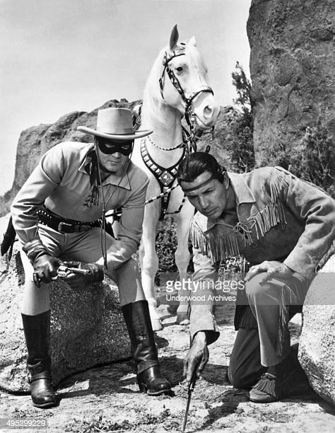 A promotional shot from the Lone Ranger television series with the Lone Ranger played by Clayton Moore and his sidekick Tonto by Jay Silverheels and...