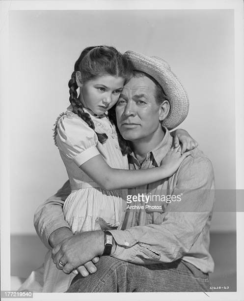 Promotional shot of actors Donna Corcoran and Ward Bond as they appear in the movie 'Gypsy Colt' 1954