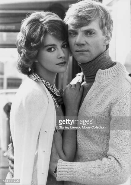 Promotional shot of actors Lynne Frederick and Malcolm McDowell as they appear in the film 'Voyage of the Damned' 1976