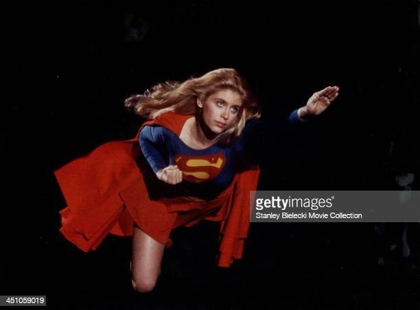 Promotional shot of actress Helen Slater as she appears in the movie 'Supergirl' 1984