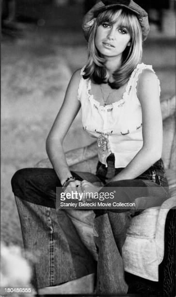 Promotional shot of actress Susan George as she appears in the movie 'Dirty Mary Crazy Larry' 1974