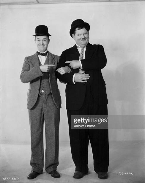Promotional shot of comedy double act Stan Laurel and Oliver Hardy 1932