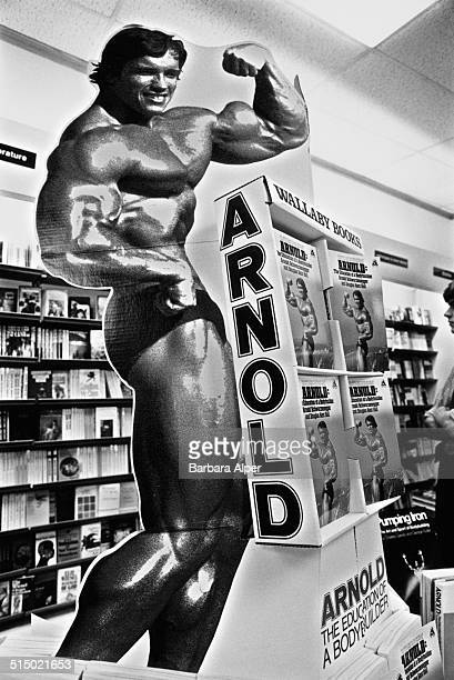 A promotional stand at a book signing for Arnold Schwarzenegger's autobiography/weighttraining guide 'Arnold The Education of a Bodybuilder' Boston...