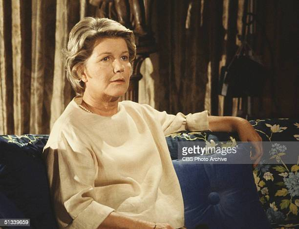 Promotional still from the American television series 'Dallas' shows Barbara Bel Geddes , as she sits on a sofa, 1979.