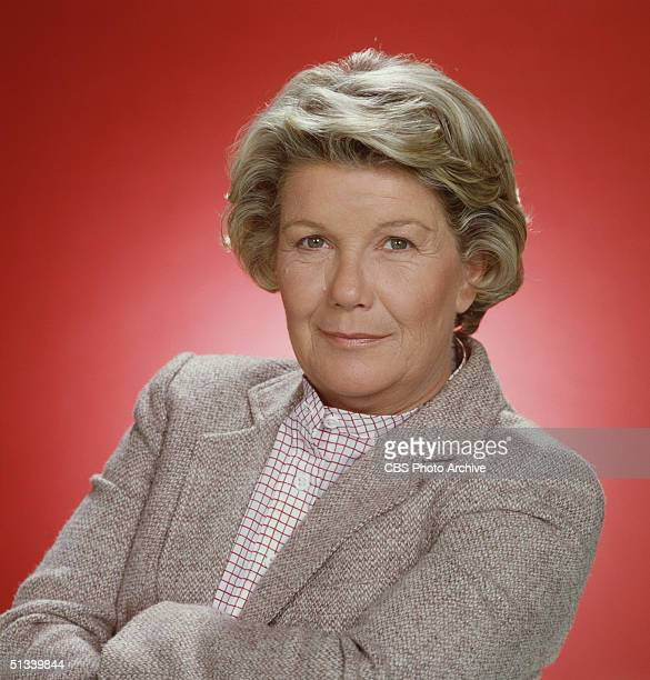 Promotional still from the American television series 'Dallas' shows Barbara Bel Geddes , dressed in a jacket over a collarless shirt, 1979.