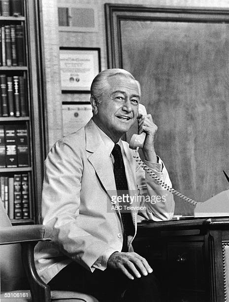 Promotional still of American actor Robert Young as he talks on the telephone in the ABC medical drama 'Marcus Melby MD' Universal Studios Universal...