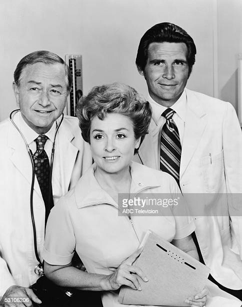 Promotional still of American actors Robert Young Elena Verdugo and James Brolin in the ABC medical drama 'Marcus Melby MD' 1970s Young and Brolin...