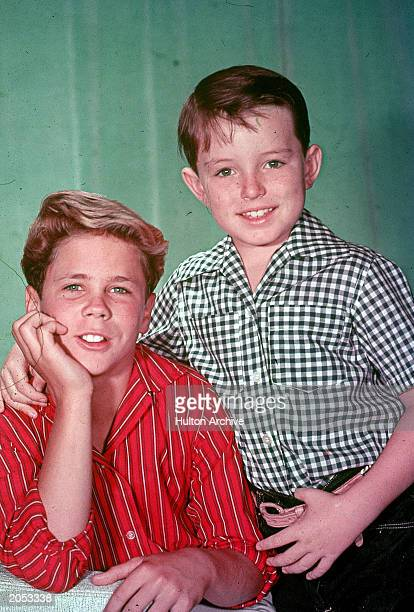Promotional studio portrait of actors Tony Dow and Jerry Mathers from the television series 'Leave It to Beaver' circa 1957