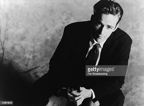Promotional studio portrait of American actor Luke Perry from the television series 'Beverly Hills' 1994
