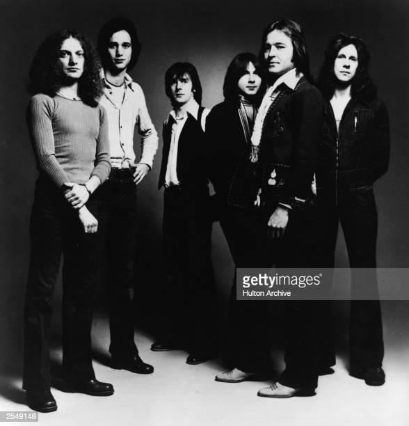 Promotional studio portrait of American rock group Foreigner 1977 Lou Gramm Ian McDonald Al Greenwood Mick Jones Dennis Elliot