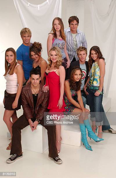 Promotional studio portrait of young cast members from the daytime television drama 'The Young And The Restless' March 2004 LR Ashley Bashioum Cam...