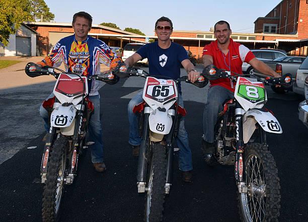ProMotocross rider Brett Andrews Host Singer/Songwriter Craig Morgan and ProMotocross Rider Andrew DeLong pose backstage during Craig Morgan 6th...