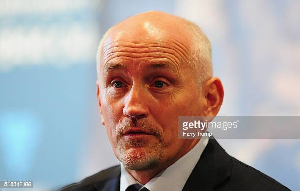 Promotor Barry McGuigan looks on as he addresses the media during a Press Conference at the Great Eastern Hall on March 31 2016 in Bristol England
