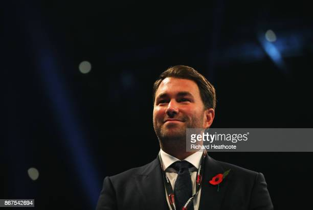 Promotor Eddie Hearn looks on at Principality Stadium on October 28 2017 in Cardiff Wales