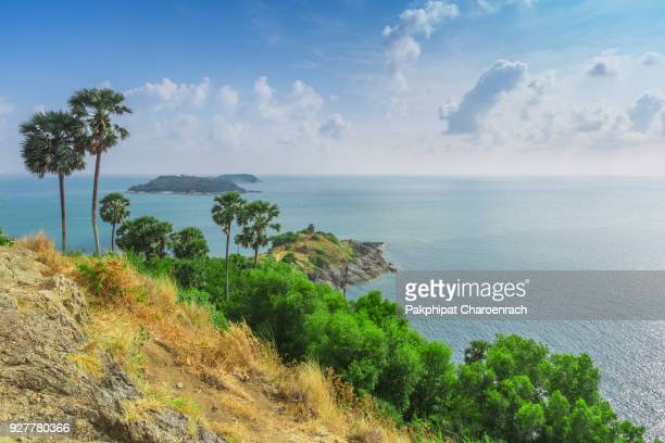 Promthep Cape (Laem Phromthep) is one of the island's most photographed and perhaps best-known locations. The one of Landmark view points in Phuket Island, Thailand.