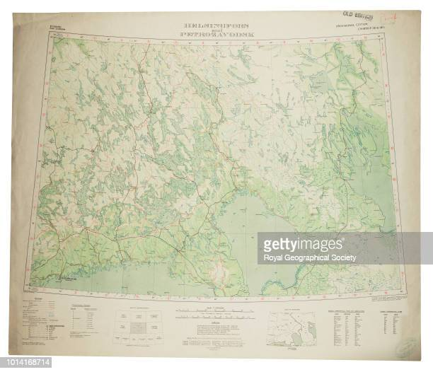 Proof copy of map of Helsinki and surrounding area including border with Russia Sheet North P35 36 'Helsingfors and Petrolzavodsk' from a series of...