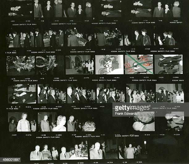 A proof sheet of attendees of entertainer Jimmy Durante's funeral including Marlon Brando Bob Hope Danny Thomas Angie Dickinson Peter Marshall Sally...