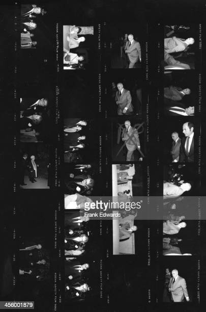 A proof sheet of attendees of entertainer Jimmy Durante's funeral including Marlon Brando Robert Mitchum and wife Dorothy Mitchum and Dale Robertson...