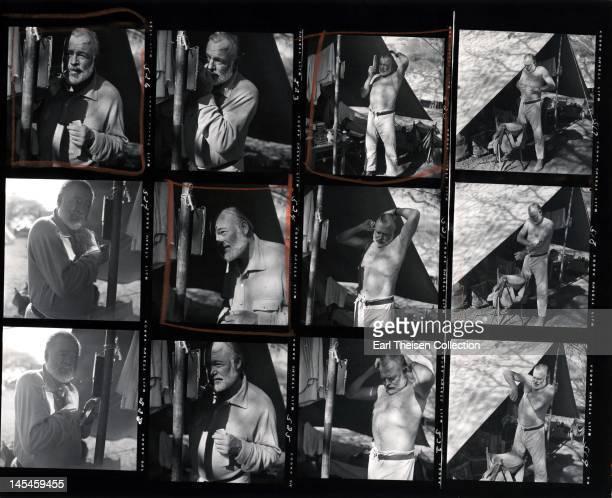 A proof sheet of author Ernest Hemingway taken while on a big game hunt in September 1952 in Kenya