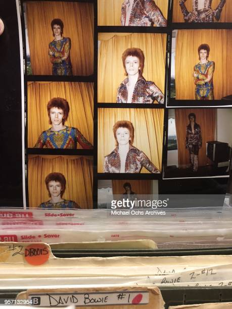 A proof sheet of David Bowie in file cabinets of the Michael Ochs Archives on May 10 2018 in Los Angeles California