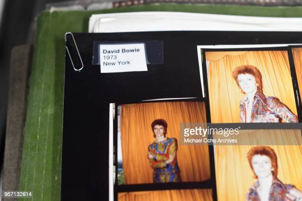 A proof sheet of David Bowie in the Michael Ochs Archives on May 10 2018 in Los Angeles California