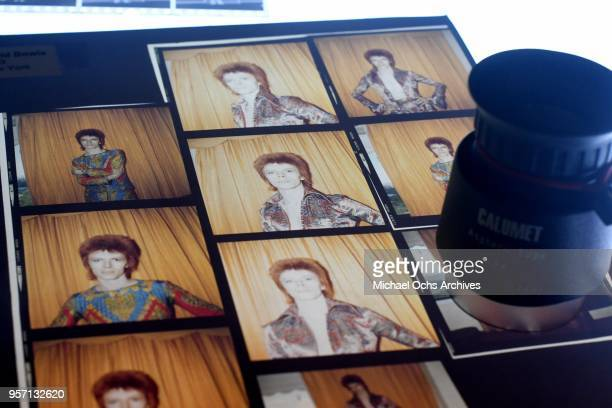 A proof sheet of David Bowie sits on a lightbox in the Michael Ochs Archives on May 10 2018 in Los Angeles California