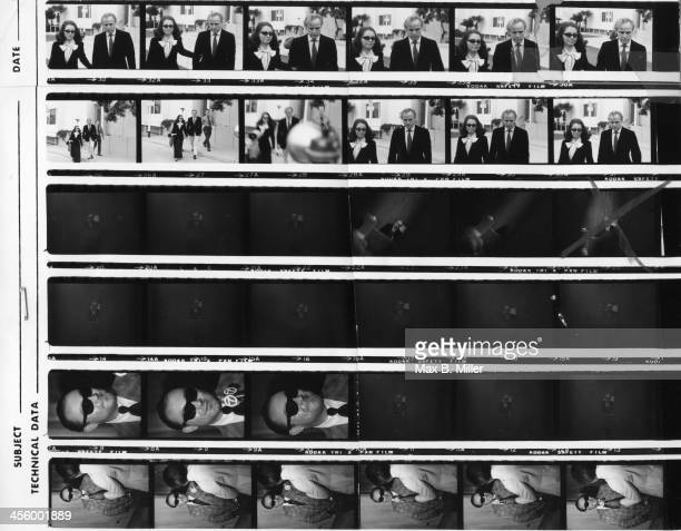 A proof sheet of Marlon Brando and his lawyer Judy Gilbert along with private detective Jay J Armes who found his son Christian in a commune in Baja...
