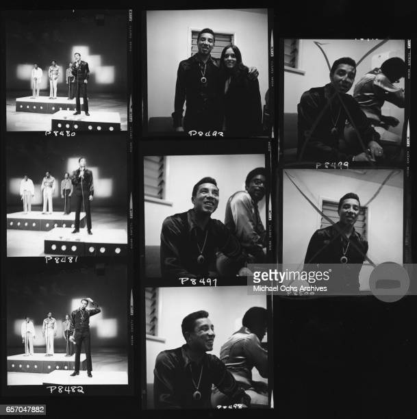 A proof sheet of Smokey Robinson and the Miracles backstage and performing in circa 1965 in Los Angeles California