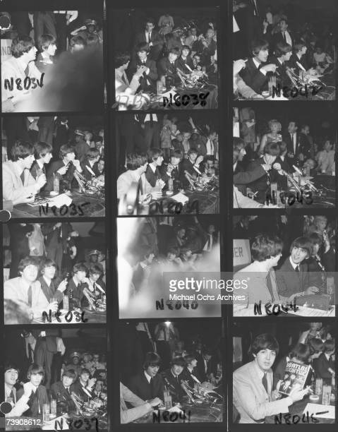 Proof sheet of the rock and roll band The Beatles at a press conference at the Hollywood Bowl during their first American tour on August 23 1964 in...