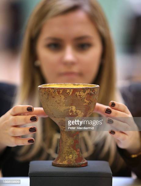 A prop chalice from Indiana Jones And The Last Crusade is shown at Christie's on November 23 2012 in London England Estimated at £2500 £3500 it forms...