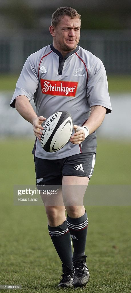 Prop Greg Somerville runs with the ball during an All Blacks training session at Rugby Park on July 05, 2006 in Christchurch, New Zealand. The All Blacks play the Australian Wallabies in a Tri-Nations/Bledisloe Cup rugby test match on July 08.