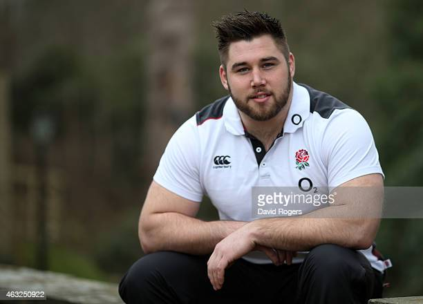 Prop Kieran Brookes poses for the camera during the England training session at Pennyhill Park on February 12, 2015 in Bagshot, England.