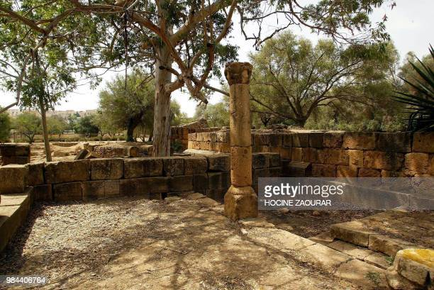 A prop of an ancient temple is pictured 14 August 2002 at the historic site of Tipasa On he Shores of the Mediterranean Tipasa was an ancient Punic...