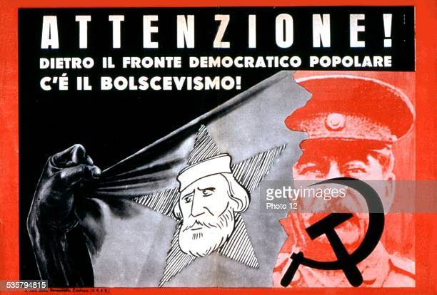 Propaganda election poster issued by the Christian Democracy against the Popular Democratic Front Watch out Behind the Popular Democratic Front there...