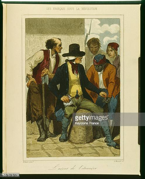Propaganda engraving representing a foreign agent being corrupted circa 1790