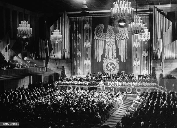 Propaganda Minister Joseph Goebbels addresses a conference on culture in Munich, Germany, 11th May 1936.