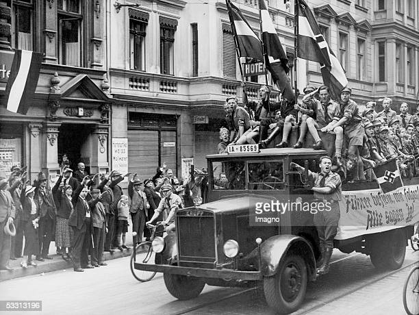 Propaganda of the HitlerJugend on the occasion of the plebiscite in the august of 1934 Berlin Photography [Fuehrer befiehl wir folgen Alle sagen Ja...