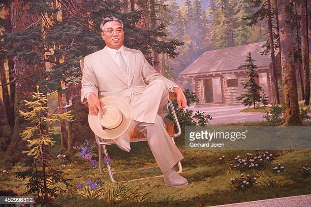 Propaganda paintings of Great Leader Kim Il Sung. Kim Il Sung was the pseudonym for Kim Song Ju. Kim was born in Pyongi near Pyonyang in 1912. Kim...