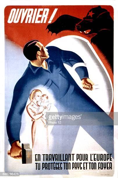 Propaganda poster advertising for voluntary work in Germany France World War II
