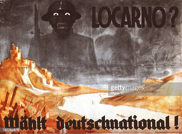 Propaganda poster against the Treaty of Locarno on the Rhine concluded by Stresemann The nationalists announce the terror Germany Private collection
